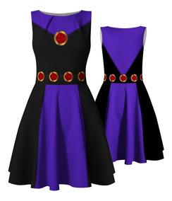 Vestido Infantil Estelar Jovens Titãs Ravena Fantasia Heróis