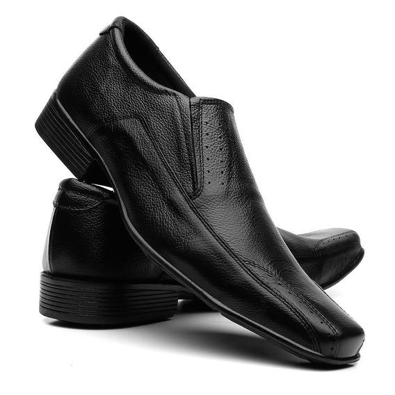 Sapato Social Masculino Em Couro Preto Liso