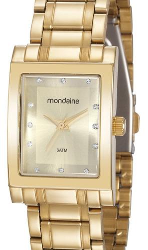 Relógio Mondaine Feminino Dourado Quadrado Barato