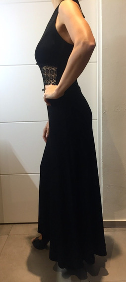 Vestido Fiesta Largo Negro Encaje A La Cintura Mucha Caída