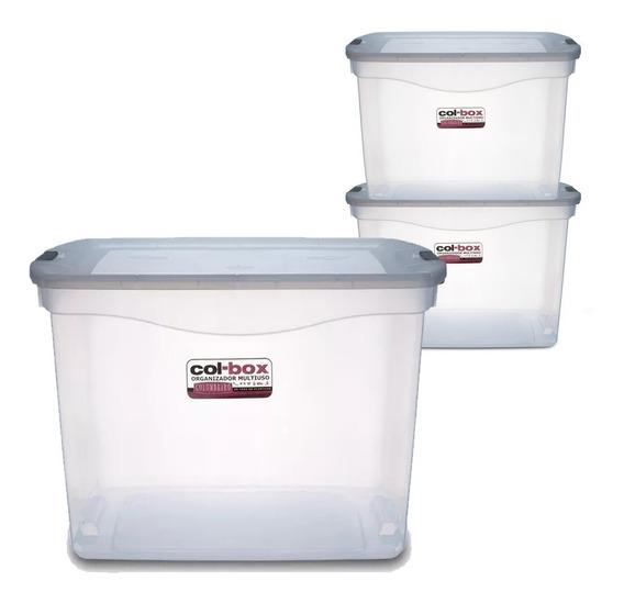Caja Organizador Plastico Apilable Tapa Taper 80 Litros X 3 Colombraro