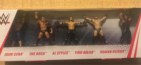 AJ John Cena Finn /& ROMAN Mattel WWE Collector 5-Pack mini figures The Rock