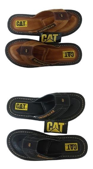 Chinelo De Couro Caterpillar Kit 2 Pares 1 Preto E 1 Amarelo