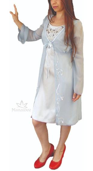 Vestido Manawee Mujer Fiesta Corto Bordado A Mano