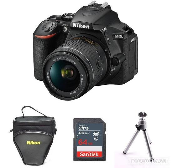 Câmera Nikon D5600 Com Lente 18-55mm + 64gb + Bolsa + Tripé