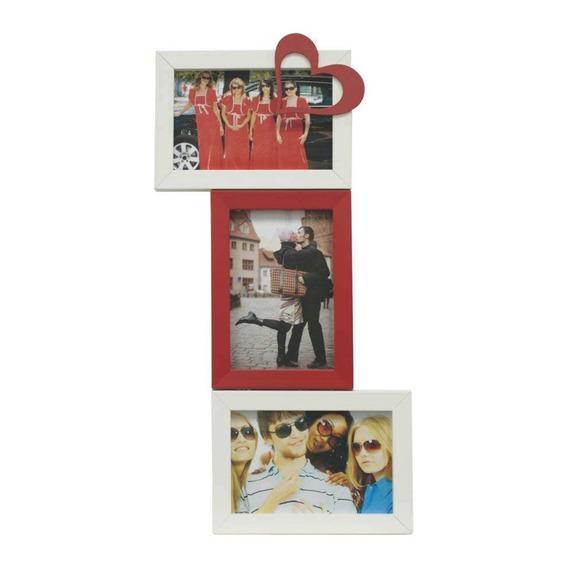 Porta-retrato Love V 3 Fotos 10x15cm Branco, Vermelho Kapos