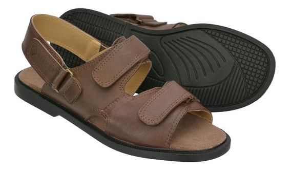 Sandália Em Couro Masculina C/ Velcro Conforto E Qualidade Ref:210