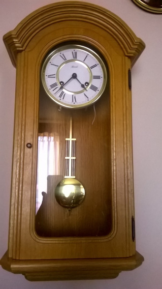 Precioso Reloj De Pared Alemán Marca Hermle De Dos Cuerdas