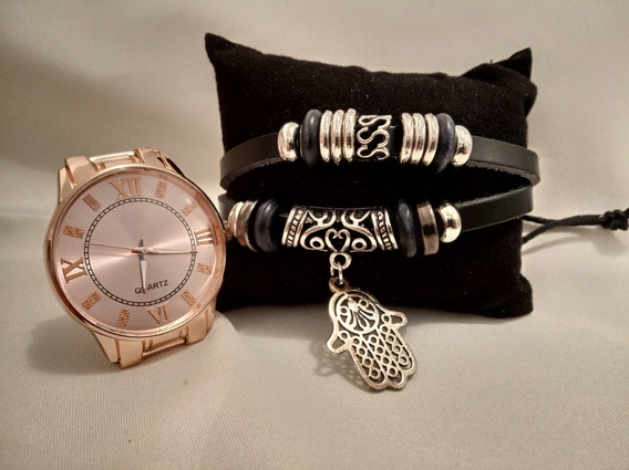 Relógio Feminino Rosé + Pulseira Hamsa + Bateria Extra