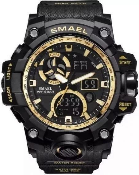 Relógio Esportivo Militar Smael 1545c Black/gold- Lançamento