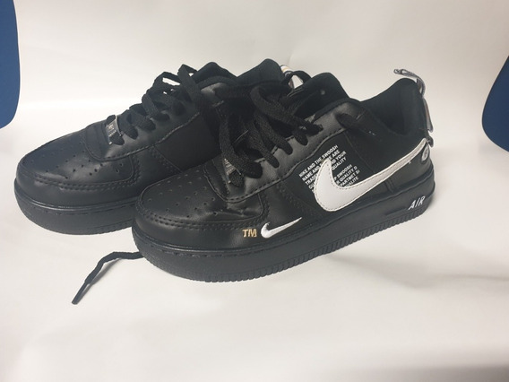 Zapatillas Nike Air Force Talle 35 Negras Un Solo Uso