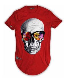 Camisa Alongada Longline Caveira Spy Skull De Oculos