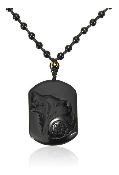 Dije De Lobo Negro Obsidiana Collar Amuleto De La Suerte