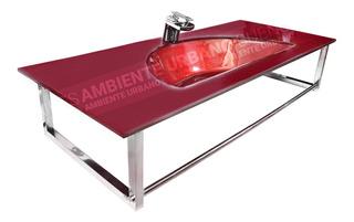 Mueble Vanitory Vidrio Colgante Toallero Bronce Mod Auv3054
