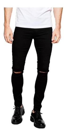 Jean Chupin Negro Roturas Hombre Elastizado Pantalon