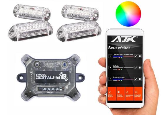 Kit Strobo Ajk Central Bluetooth 4 Faróis Muito Forte 9 Leds