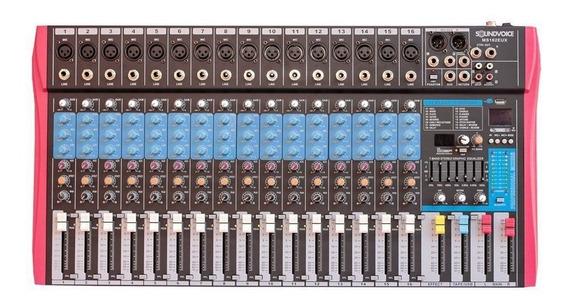 Mesa De Som Usb Ms162eux 16 Canais Eq 7 Bandas Soundvoice
