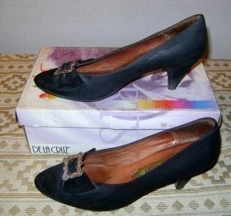 Zapatos Tipo Tango Calzature Nobuk Negro Con Aplique - N° 37