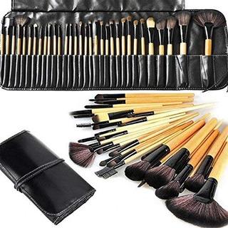 Set De 32 Brochas Profesionales Para Maquillaje Con Estuche