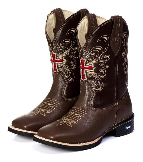 Bota Country Feminina Texana Bico Quadrado Couro Legítimo