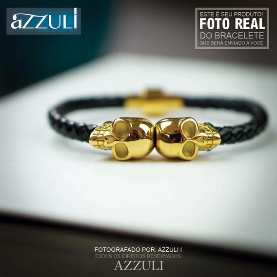 Pulseira Bracelete Caveira Couro Promoção Banhado Ouro 24k