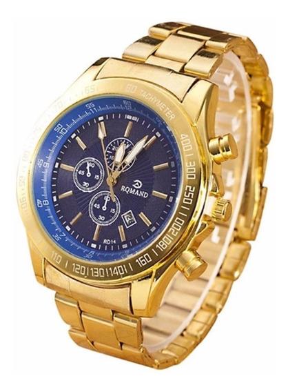 Relógio De Pulso Grande Dourado Com Fundo Azul Para Homem