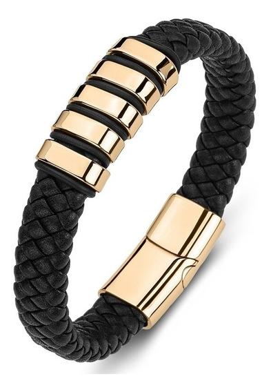Pulseira Black Gold Couro Legítimo + Aço Inox Luxo Promoção