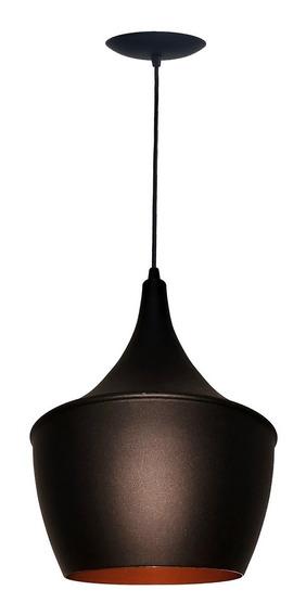 Luminária Balão Grande New York Preto/cobre Com Pendente