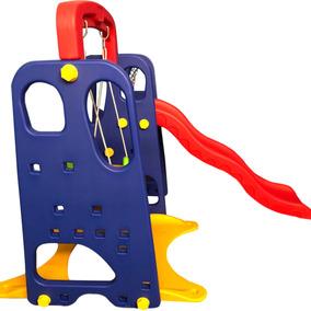 Playground Infantil Com Balanço Escorregador Cesta Basquete