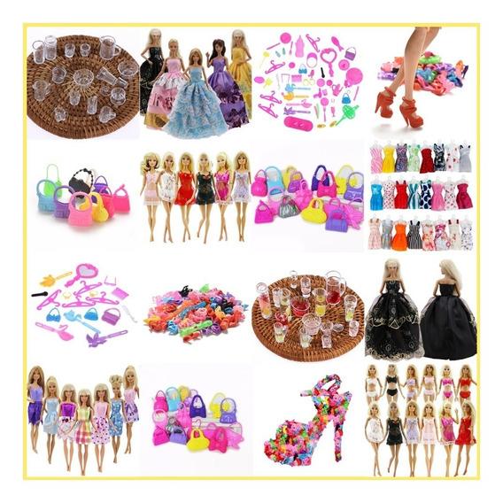 Kit Completo Acessórios Boneca Barbie Roupas Sapatos