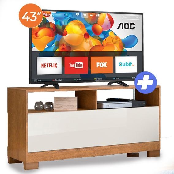 Tv Smart Aoc 43 Pulgadas Full Hd + Rack Para Tv
