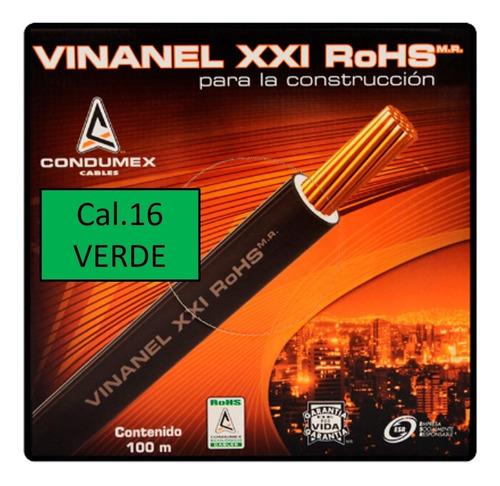 Imagen 1 de 3 de Caja 100 Mts Cable Verde Calibre 16 Awg Condumex Vinanel Xxi