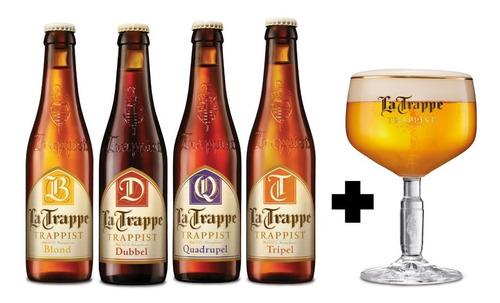4 Pack De Cervezas Holandesas La Trappe 330 Ml + Copa