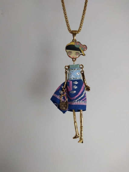 Collar Mujer Dije Muñeca Mexicana Bisuteria Fina Joyeria