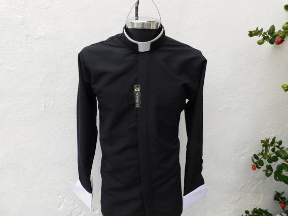 Camisa Clerical Cuello Romano Manga Larga Para Mancuernillas