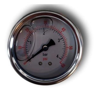 Manômetro Com Glicerina 63mm Rosca Traseira 1/4 0 Á 4 Bar