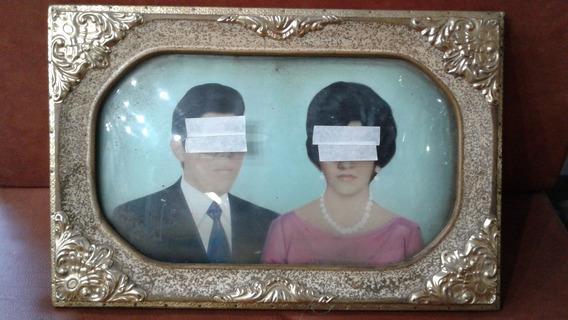 Cuadro Antiguo Con Vidrio Curvo Para Fotografia Vintage