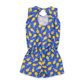 Macaquinho Infantil Menina Feminino Estampado Azul