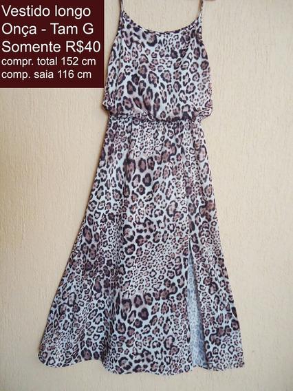 Vestido Longo De Onça Plus Size Tamanho G