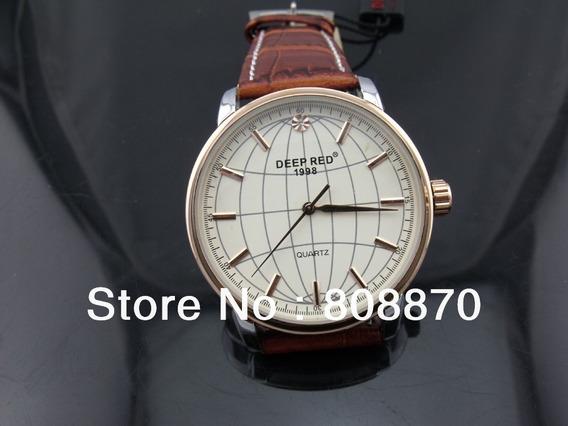 Relógio Globo Dourado Deep Red Pulseira Marrom