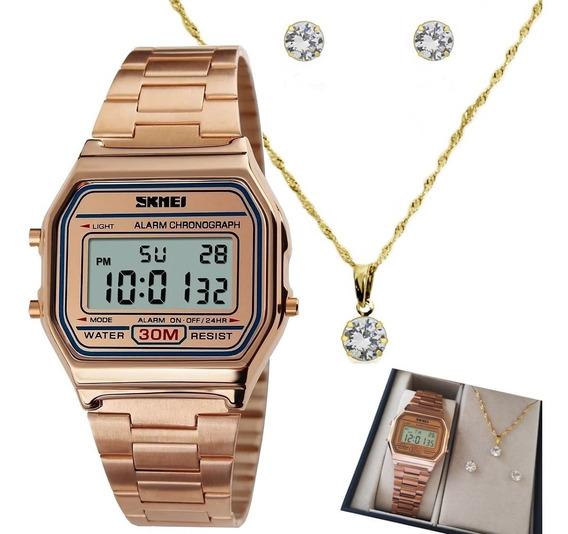 Relógio Feminino Digital Original Garantia+ Colar Brinco 18k