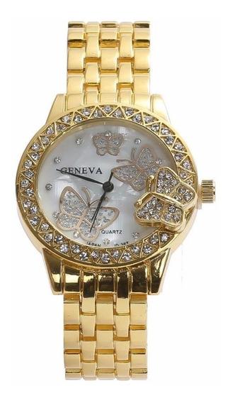 Relógio Feminino Promoção Dourado Detalhe Em Borboleta Luxo