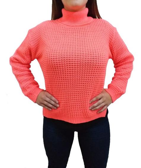 Sweater Polera Tejida Calada Invierno Mujer Talle Amplio