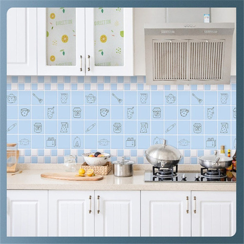 Imagen 1 de 3 de Adhesivo Decorativo Anti Grasa Para Cocina