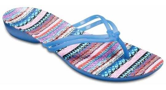 Sandalia Crocs Dama Isabella Graphic Flip Azul