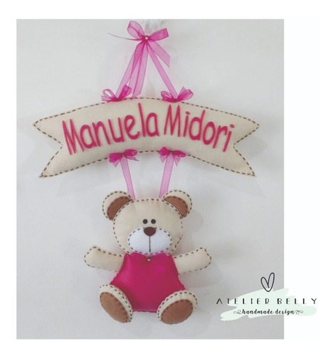 Enfeite De Porta Maternidade Ursinha Menina Urso Feltro Rosa