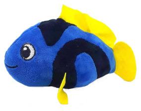 Pelúcia Peixe 18 Cm Azul Decoração Mesa Lavável Antialérgico