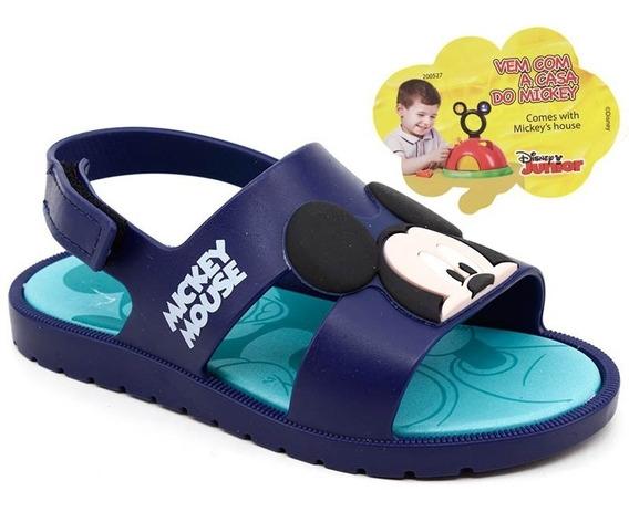 Sandália Bebê Grendene Mickey E Minnie 21996 Azul + Brinde