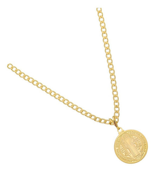 Corrente Masculina 60cm E Pingente São Bento Folheado A Ouro