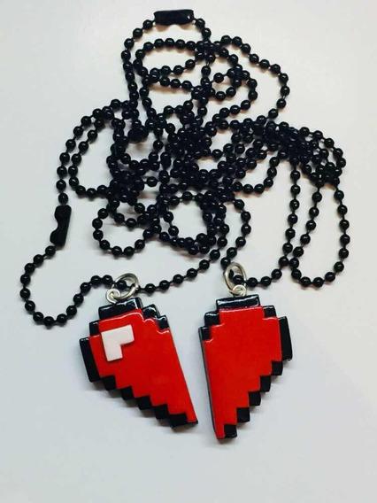 Collar Doble Corazón 8bits Gamer Kawaii Arcilla Polymerica